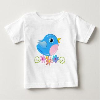 Camiseta linda con el pájaro de bebé azul playeras