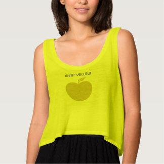 Camiseta linda de Apple del amarillo del desgaste Playera De Tirantes Holgada
