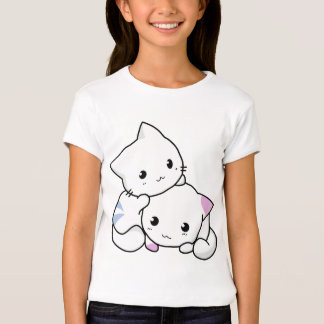 Camiseta linda de dos gatitos del dibujo animado