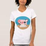 Camiseta linda de las mujeres del cerdo de la polera