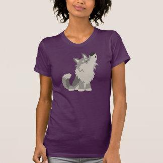 Camiseta linda de las mujeres del lobo del dibujo camisas