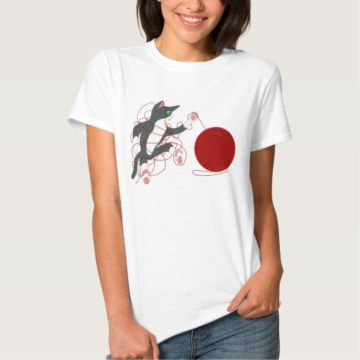 Camiseta linda de las señoras del gatito poleras