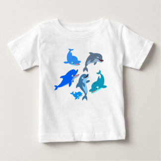 Camiseta linda del bebé de la vaina del delfín del remera