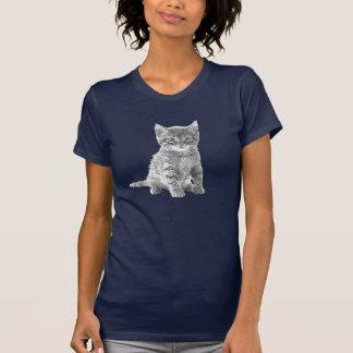 Camiseta linda del bosquejo del lápiz del gato del playeras