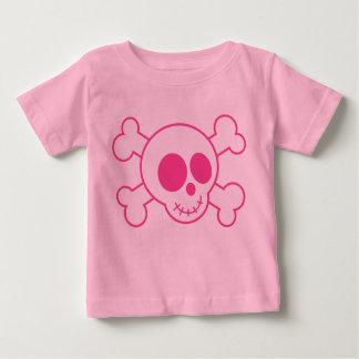 Camiseta linda del cráneo de los rosas bebés