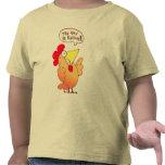 Camiseta linda del dibujo animado del pollo de la