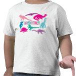 Camiseta linda del dinosaurio - rosada, púrpura, v