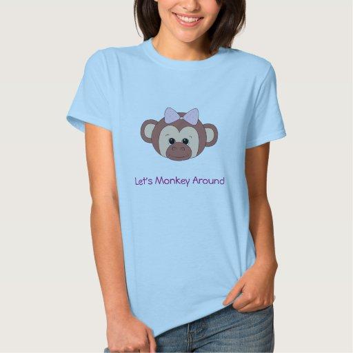 Camiseta linda del mono para las mujeres playera
