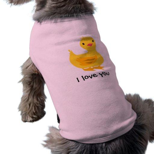 Camiseta linda del perrito con el anadón camisas de perritos