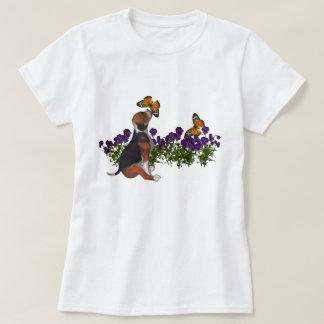 Camiseta linda del perro de las flores de camisas