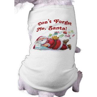 Camiseta linda del perro del navidad de Santa Prenda Mascota