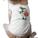 Camiseta linda del perro del navidad del muñeco de camiseta de perro
