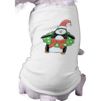 Camiseta linda del perro del navidad del pingüino ropa de perros