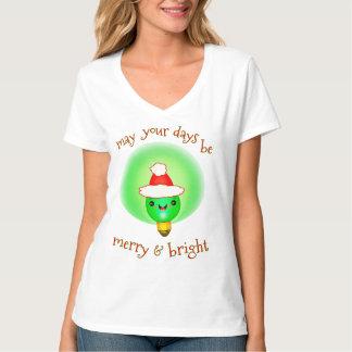 Camiseta linda del saludo de la bombilla de