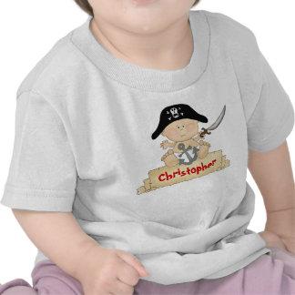 Camiseta linda personalizada del pirata del bebé p