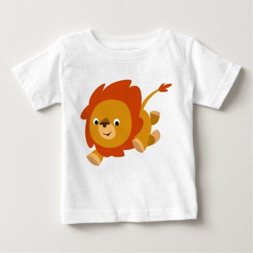 Camiseta linda rápida del bebé del león del dibujo playera