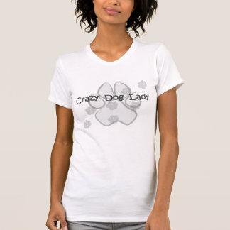 Camiseta loca del gris de la señora del perro playeras
