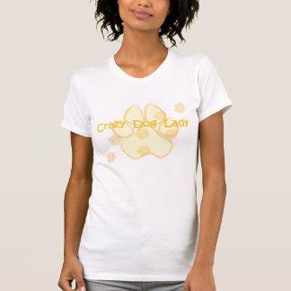 Camiseta loca del oro de la señora del perro playeras