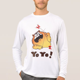 Camiseta loca del yoyo del gato del dibujo animado