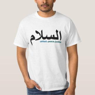 """Camiseta más pequeña árabe del texto de la """"paz"""" playera"""