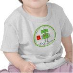 Camiseta mensual del bebé robot del verde de 8 mes