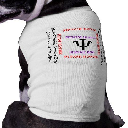 Camiseta mental del perro del perro del servicio m playera sin mangas para perro