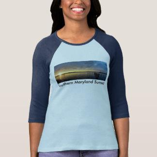 Camiseta meridional W/ColorSleeve de la puesta del Remeras