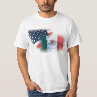 Camiseta mexicana-americano de la bandera