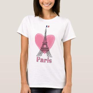 Camiseta moderna de la torre Eiffel del amor