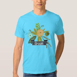 Camiseta moderna del boda del novio de la pizarra playera
