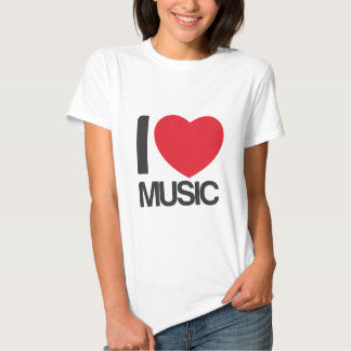 camiseta mujer I love music blanca T Shirt