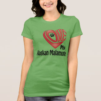 Camiseta, mujeres: Ame mi Malamute de Alaska Remeras