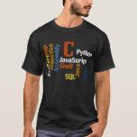 Camiseta multilingüe del negro del programador