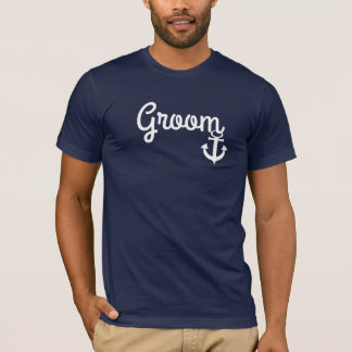 Camiseta náutica del novio del boda con el ancla