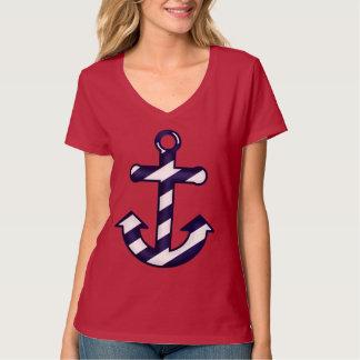 Camiseta náutica rayada azul y blanca del ancla remera