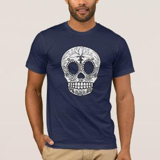 Camiseta negra/blanca del cráneo