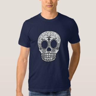 Camiseta negra/blanca del cráneo playera