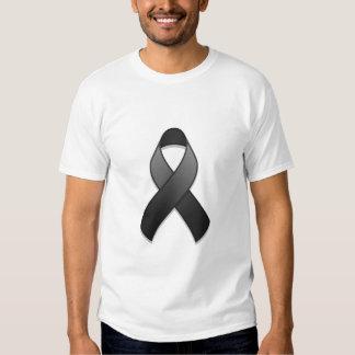 Camiseta negra de la cinta de la conciencia playeras