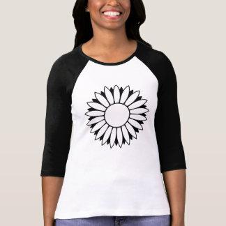 Camiseta negra de la manga del flower power 3/4 de playera