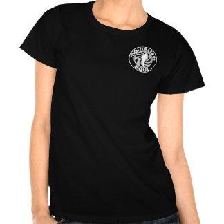 Camiseta negra de las señoras con el logotipo blan