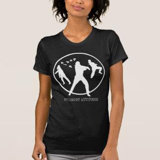 Camiseta negra de las señoras de los chicas de la remera