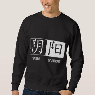 Camiseta negra de los símbolos chinos de Yin Yang Suéter