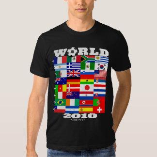 Camiseta negra del A-H del grupo de la bandera del Poleras