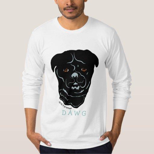Camiseta negra del arte de D A W G Camisas
