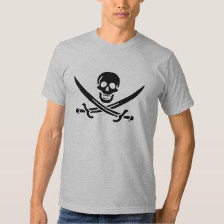Camiseta negra del cráneo de Jack Rackham Playera
