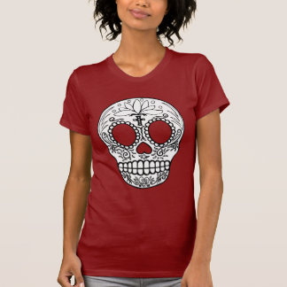 Camiseta negra del cráneo del azúcar