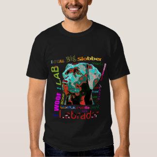 Camiseta negra del diseño del arte pop de Labrador Playeras