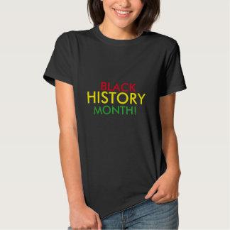 Camiseta negra del mes de la historia playeras
