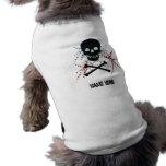 Camiseta negra del perrito del cráneo camisa de perro