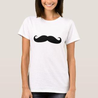 Camiseta negra divertida del bigote del manillar